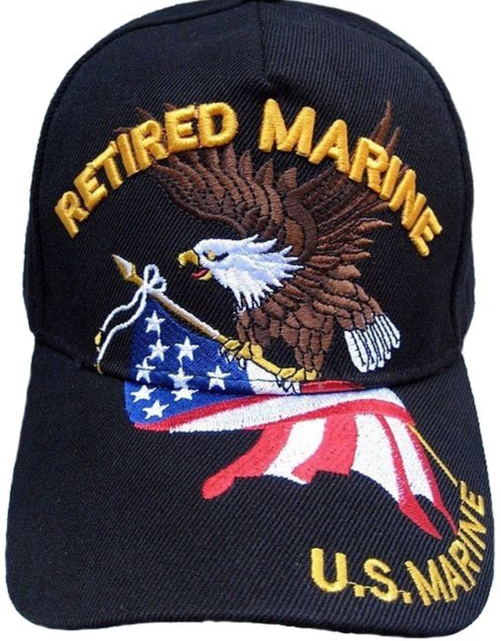 MidMil Retired Marine Hat with Eagle and American Flag Black