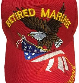 MidMil Retired Marine Hat with Eagle and American Flag Red