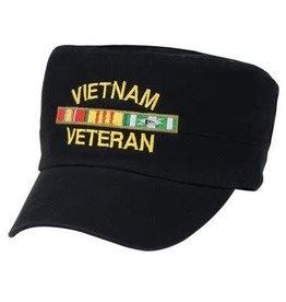 MidMil Vietnam Veteran Hat with Ribbons Flat Top Black