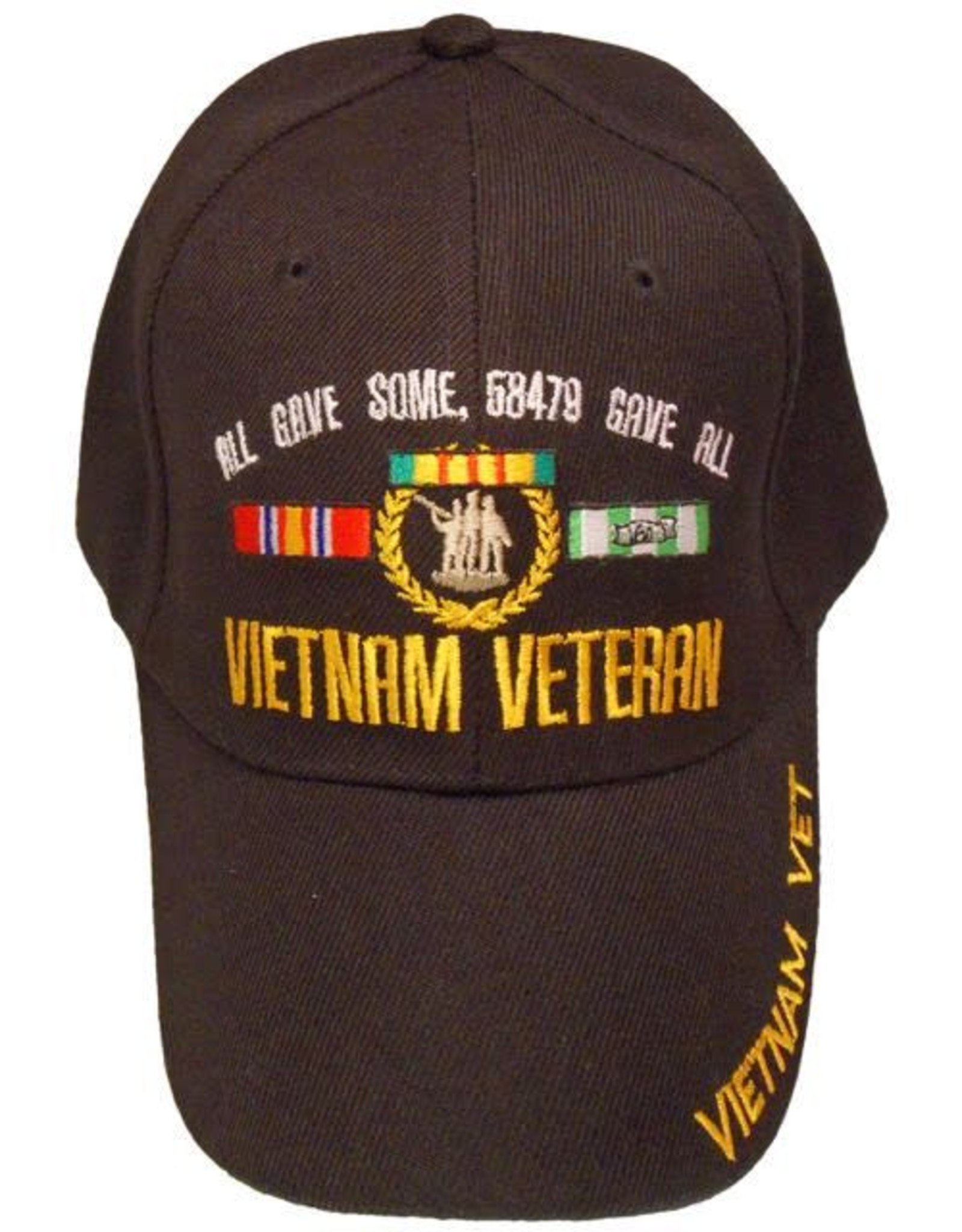 "MidMil Vietnam Veteran Hat with ""All Gave Some..."" Ribbons and Emblem Black"