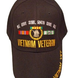 """Vietnam Veteran Hat with """"All Gave Some..."""" Ribbons and Emblem Black"""