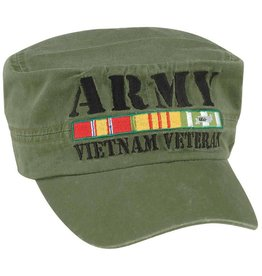MidMil Army Vietnam Veteran Flat Top Hat with  All Ribbons Olive Drab