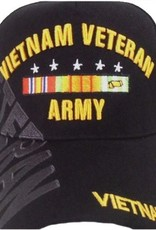 MidMil Army Vietnam Veteran Hat with Ribbons and Over Shadow Black