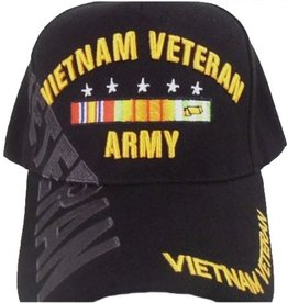 Army Vietnam Veteran Hat with Ribbons and Over Shadow Black
