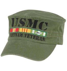 MidMil Vietnam Veteran Marine Hat with All Ribbons Flat Top Olive Drab