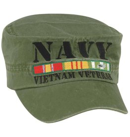 MidMil Navy Vietnam Veteran Flat Top Hat with All Ribbons Olive Drab
