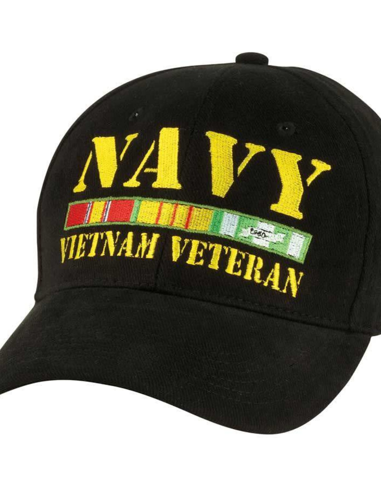 MidMil Navy Vietnam Veteran Hat with  All Ribbons Black