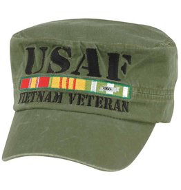 MidMil Air Force Vietnam Veteran Flat Top Hat with All Ribbons Olive Drab
