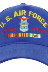 MidMil U.S. Air Force Vietnam Veteran Hat with Crest and Ribbons Royal Blue