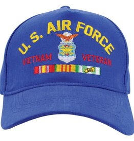 MidMil Air Force Vietnam Veteran Hat with Crest and Ribbons Royal Blue