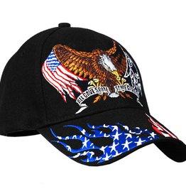 Eagle Wings American Flag and POW-MIA Emblem Hat Black