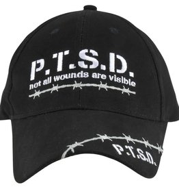 "MidMil PTSD Barbed Wire Hat ""not all wounds are visible""Black"