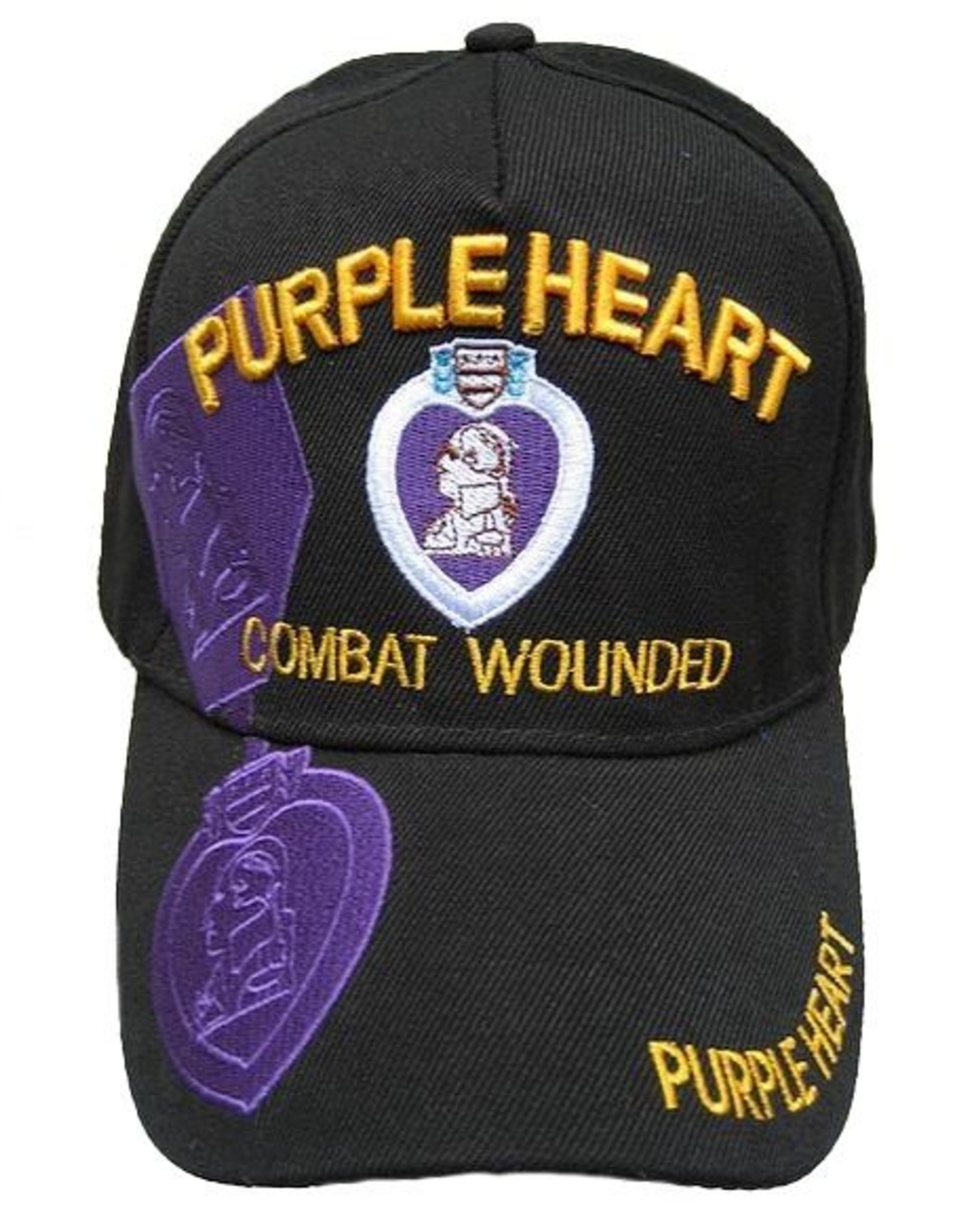MidMil Purple Heart Hat with Medal and Over Shadow Black