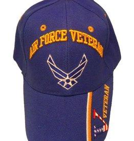 Air Force Veteran Hat with Wings emblem and Veteran on Bill  Royal
