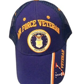 MidMil Air Force Veteran Hat with Seal and Veteran on bill Trucker Mesh Dark Blue