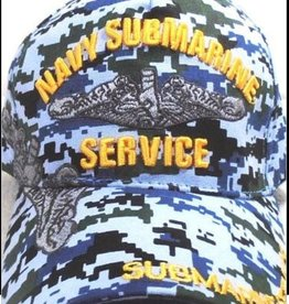MidMil Navy Submarine Service Hat with Dolphin Emblem and Shadow Blue Digital Camouflage