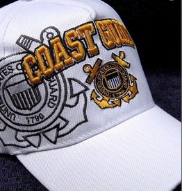 Coast Guard Hat with Emblem and Shadow White