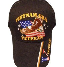 MidMil Vietnam Era Veteran Hat with Eagle over Flag Trucker-Mesh Black