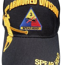 MidMil Army 3rd Armored Division Hat with Emblem and Over Shadow Black