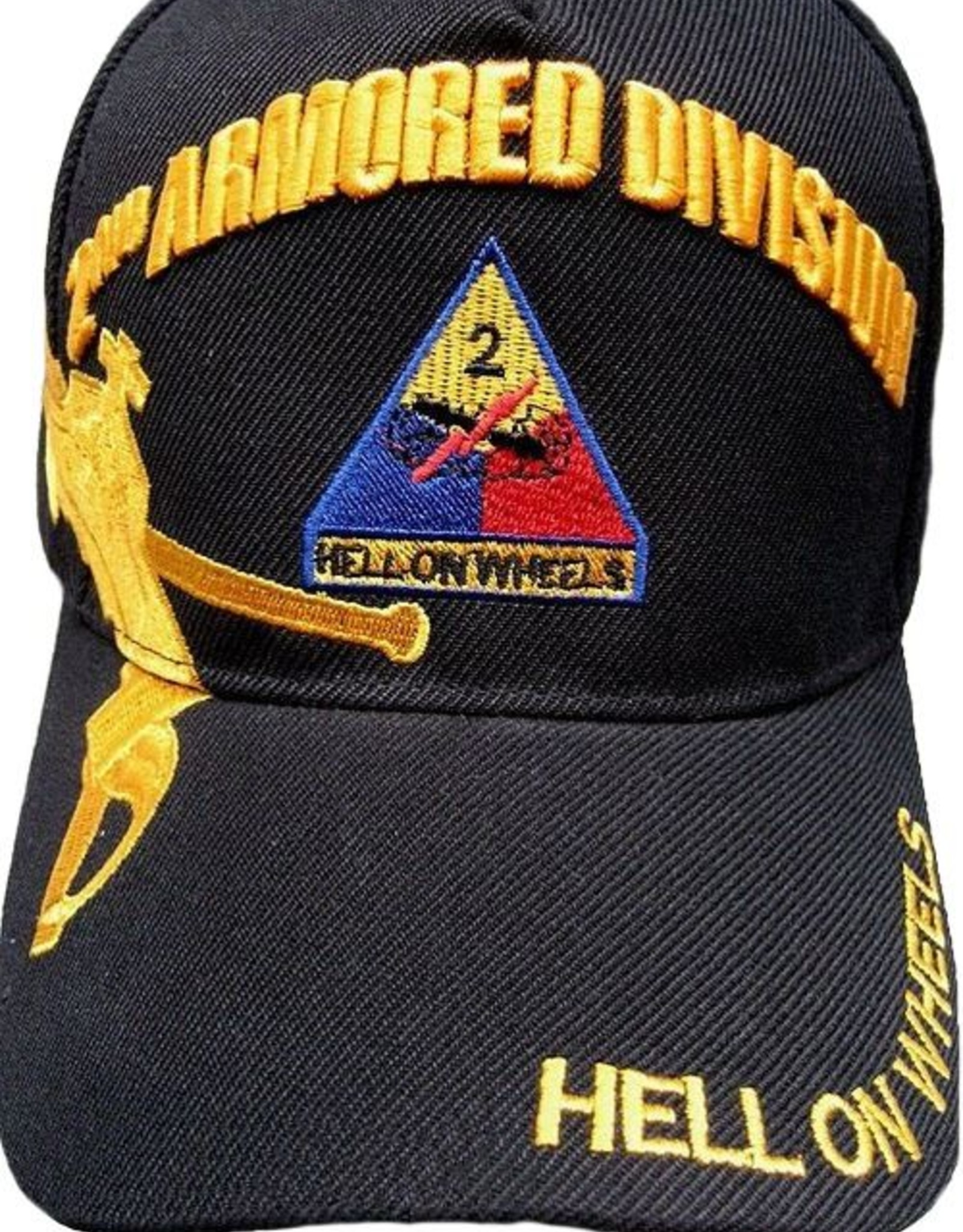 MidMil Army 2nd Armored Division Hat with Emblem and Over Shadow Black