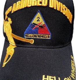 Army 2nd Armored Division Hat with Emblem and Over Shadow Black