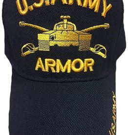 Army Armor Hat with  Puffed Letters Black