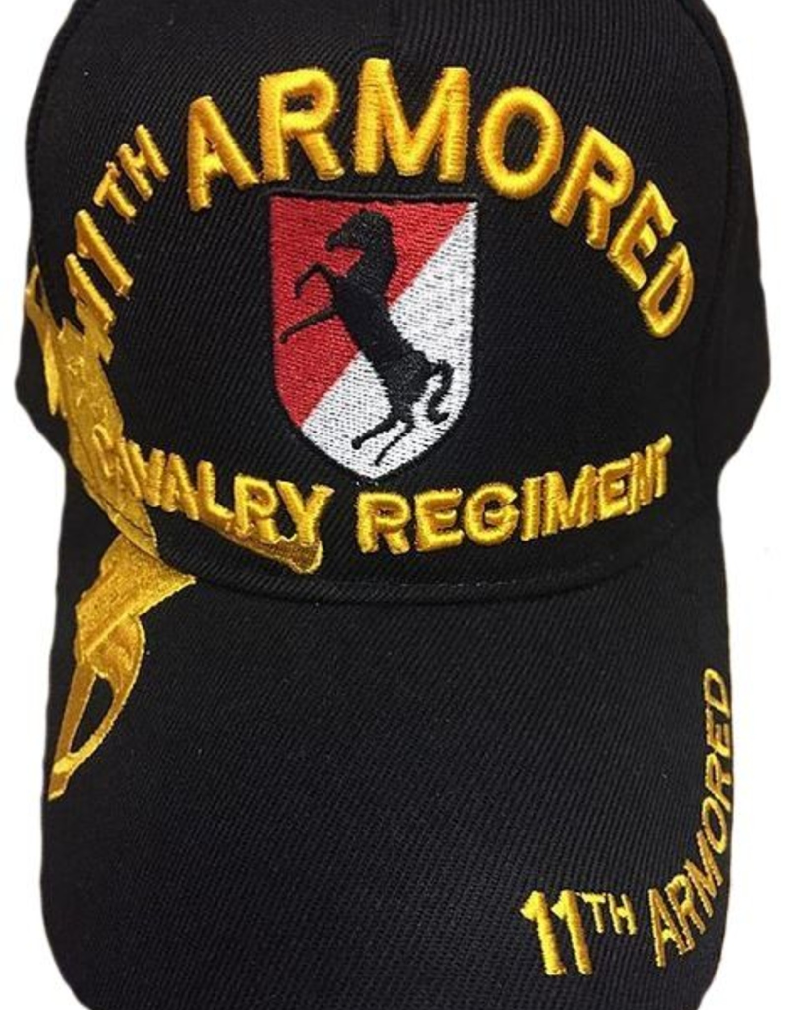 MidMil Army 11th Armored Cavalry Regiment Hat with Emblem and  Over Shadow Black