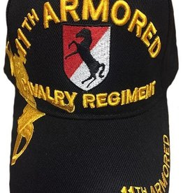 Army 11th Armored Cavalry Regiment Hat with Emblem and  Over Shadow Black