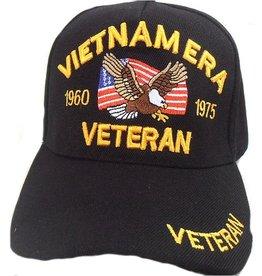 MidMil Vietnam Era Veteran Hat with  Eagle on Flag Dates 1960-75  Black