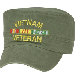 MidMil Vietnam Veteran Flat Top Hat with Ribbons Olive Drab