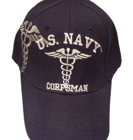 Navy Corpsman Hat with Emblem and Shadow Dark Blue