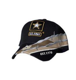 MidMil Army Hat with Star Emblem and Barbed Wire Black
