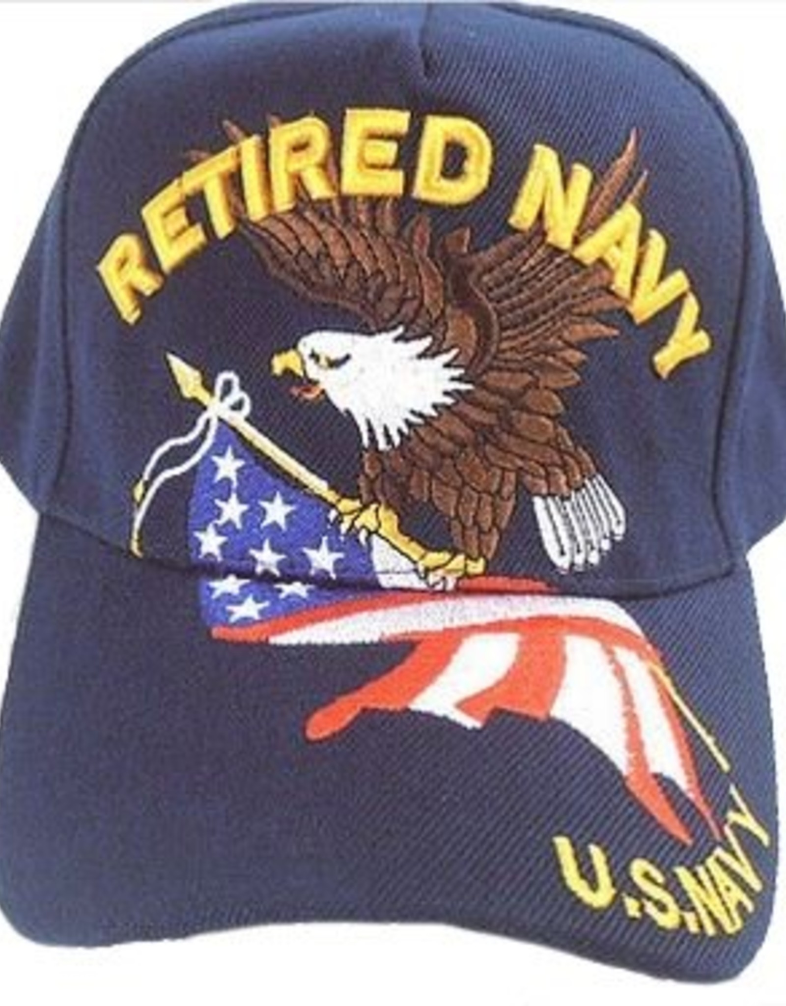 MidMil Retired Navy Hat with Eagle and American Flag Dark Blue