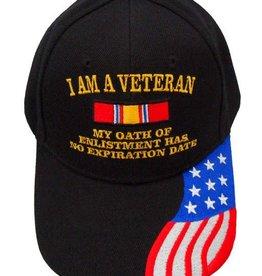 "MidMil I Am a Veteran Hat ""My Oath of Enlistment Has No Expiration Date"" RWB Flag on Bill Black"