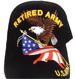 MidMil Retired Army Hat with Eagle and American Flag Black