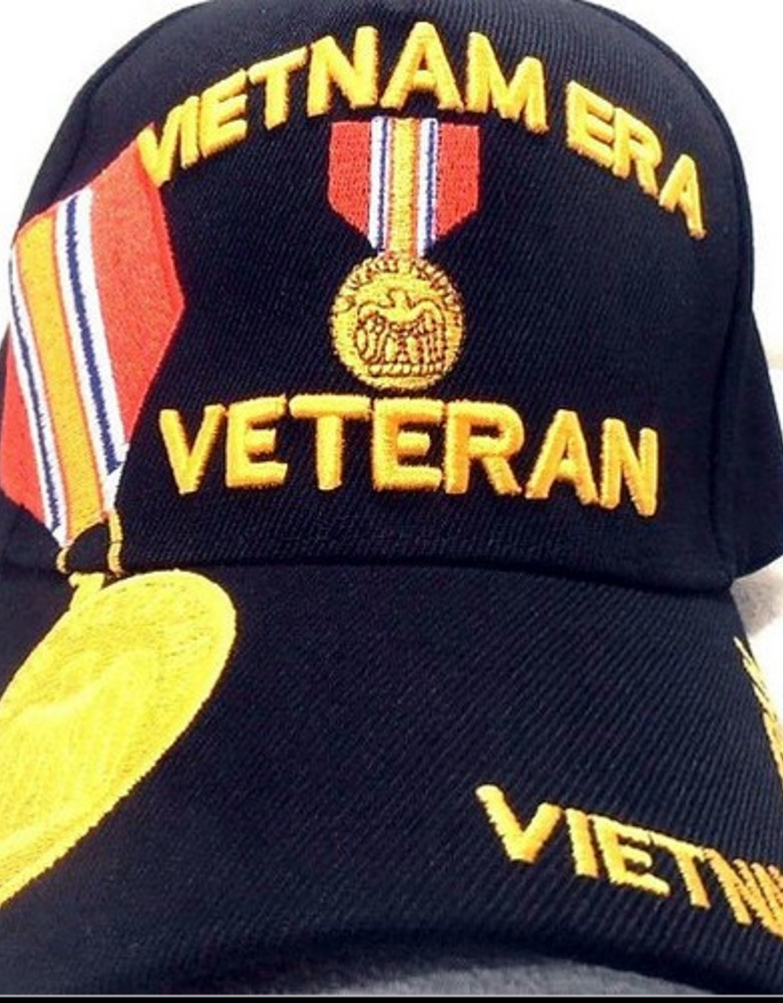 MidMil Vietnam Era Veteran Hat with National Defense Medal and Over Shadow Black