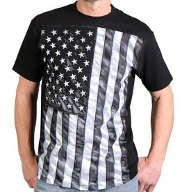 MidMil American Flag B&W Vertical T-Shirt Black
