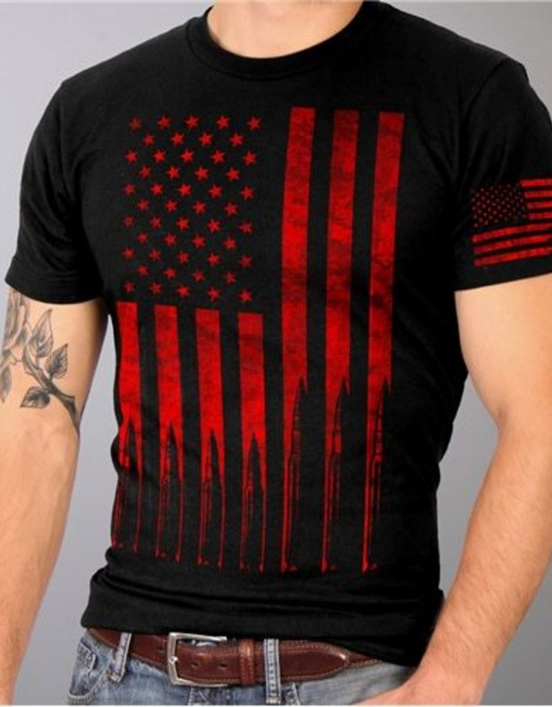 Red American Flag With Bullets T Shirt Black