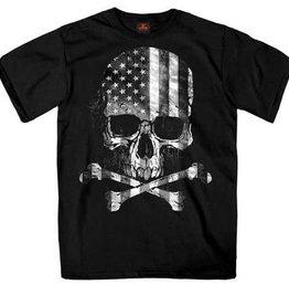 American Flag B&W Skull & Crossbones T-Shirt Black