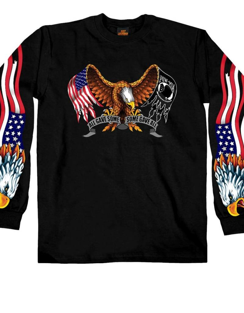 American Flag Pow Flag Eagle T Shirt Ls Midtown Military