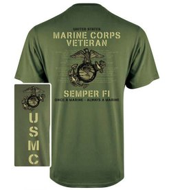 MidMil Marine Corps Veteran T-Shirt with Globe and Anchor Olive Drab