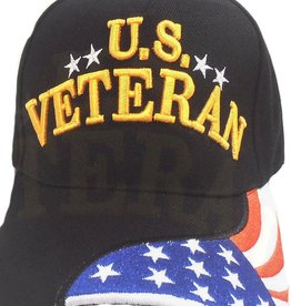 MidMil U.S. Veteran Hat with Red White and Blue Flag on Bill Black