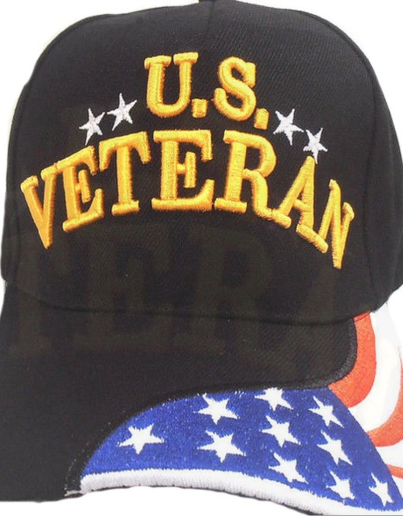 fea9eace24b U.S. Veteran Hat with Red White and Blue Flag on Bill Black - Midtown  Military