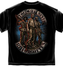 MidMil Vietnam Wall T-Shirt with 3 Men on circle and Service Ribbon Backgrournd Black