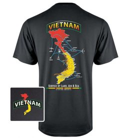 "MidMil Vietnam Map T-Shirt ""Service by Land, Air & Sea"" Black"