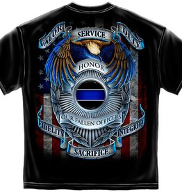 "MidMil Police Blue Line Shield T-Shirt ""Honor Our Fallen Officers"""