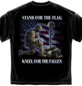 MidMil Stand for the Flag Kneel for the  Fallen T-Shirt Black