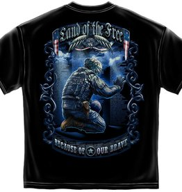 MidMil Land of Free . . . T-Shirt with Soldier Kneeling at Wall Black