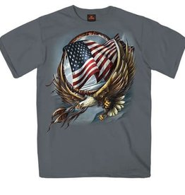MidMil Eagle with American Flag T-Shirt Grey