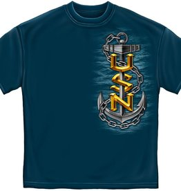 "Navy Fouled Anchor T-Shirt ""The Sea Is Ours"" Dark Blue"